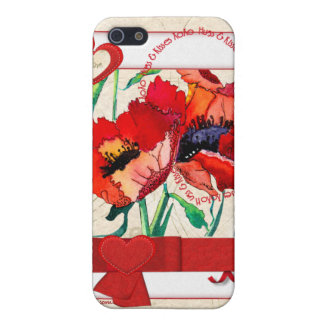 Hearts & Poppies iPhone Case Cover For iPhone 5/5S