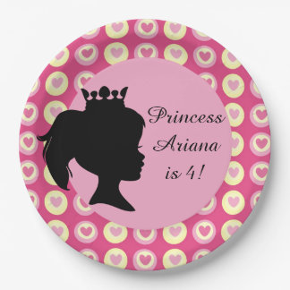 Hearts Princess Custom Birthday Paper Plates 9 Inch Paper Plate