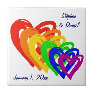 Hearts Rainbow Ceramic Tile