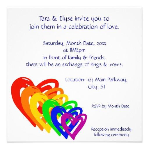 Hearts Rainbow Custom Invites