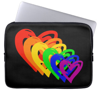 Hearts Rainbow Laptop Sleeve