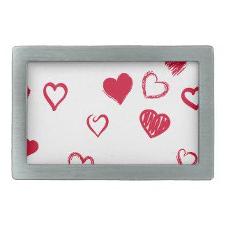 hearts rectangular belt buckles