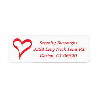 Hearts Red And White Love - Wedding, Engagement Return Address Label