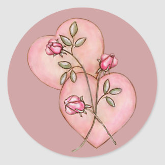 HEARTS & ROSES by SHARON SHARPE Classic Round Sticker