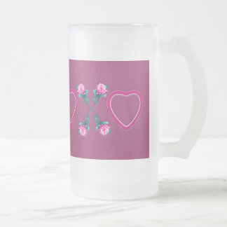Hearts & Roses X's & O's Frosted Glass Mug