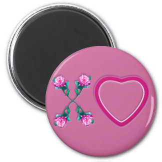 Hearts & Roses X's & O's 6 Cm Round Magnet
