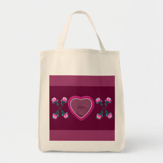 Hearts & Roses X's & O's Photo Frame Grocery Tote Bag