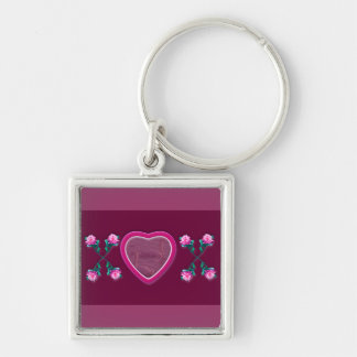 Hearts & Roses X's & O's Photo Frame Silver-Colored Square Key Ring
