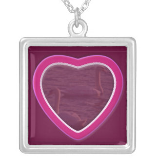 Hearts & Roses X's & O's Photo Frame Square Pendant Necklace