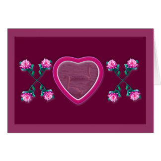 Hearts & Roses X's & O's Photo Frame Note Card