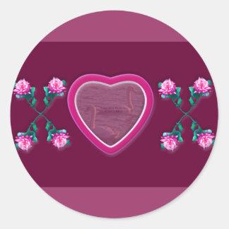Hearts & Roses X's & O's Photo Frame Round Sticker
