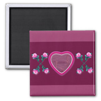 Hearts & Roses X's & O's Photo Frame Square Magnet