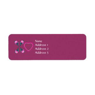 Hearts & Roses X's & O's Return Address Label