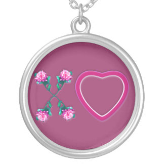 Hearts & Roses X's & O's Round Pendant Necklace