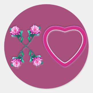 Hearts & Roses X's & O's Round Sticker