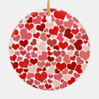 Hearts Round Ceramic Decoration