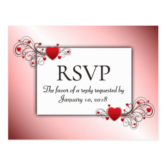 Hearts RSVP with Entree Choices Postcard