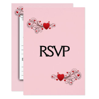 Hearts RSVP with Menu Card