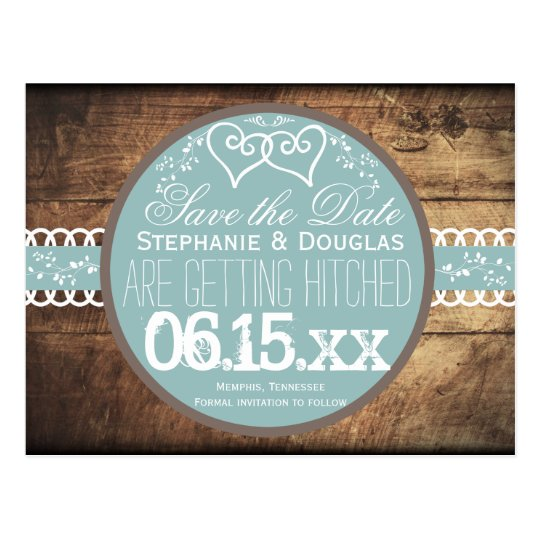 Hearts Rustic Wood Blue Save the Date Postcards