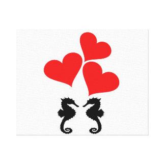 Hearts & Seahorse Canvas Print