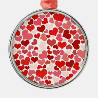 Hearts Silver-Colored Round Decoration