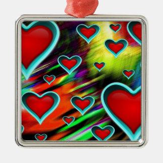 Hearts Silver-Colored Square Decoration