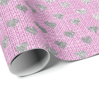 Hearts Silver Gray Bright Lilac Pink Rose Linen Wrapping Paper