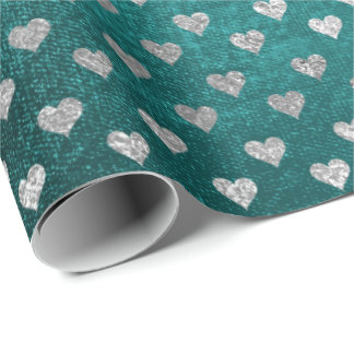 Hearts Silver Teal Aquatic Deep Tropical Green Wrapping Paper
