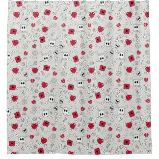 Hearts Skulls and Crossbones Doodles Shower Curtain