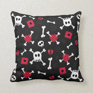 Hearts Skulls Bones Cute Doodles pillow Cushions