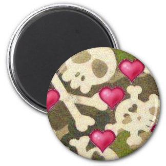 Hearts/Skulls/Camo Look Magnet