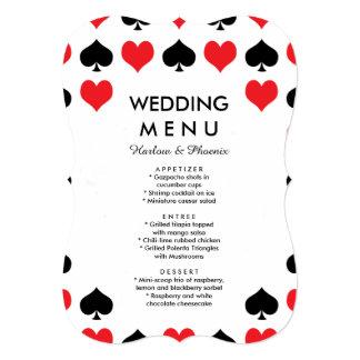 Hearts Spades Casino Wedding Menu Card