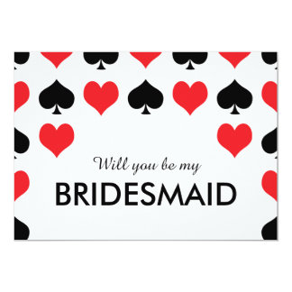 Hearts Spades Casino Will You Be My Bridesmaid Card