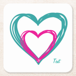 Hearts Square Paper Coaster