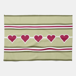 Hearts & Stripes custom kitchen towels