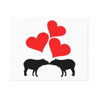 Hearts & Tapirs Canvas Print