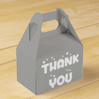 Hearts Thank You Slate Gray & White Wedding Party Favour Boxes