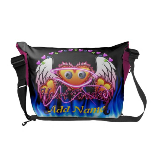 Hearts Trio in fire and angel wings Heart Breaker Courier Bag
