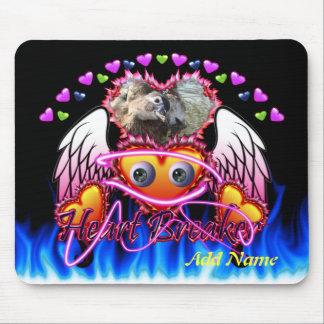 Hearts Trio in fire and angel wings Heart Breaker Mousepads