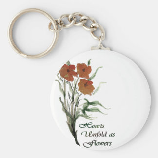 Hearts Unfold As Flowers Basic Round Button Key Ring