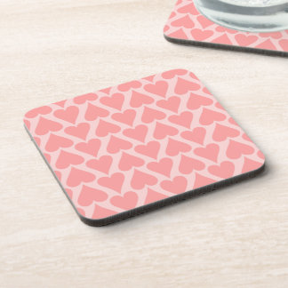 Hearts Valentine's Day Background Coral Pink Beverage Coaster