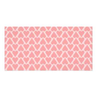 Hearts Valentine's Day Background Coral Pink Customised Photo Card