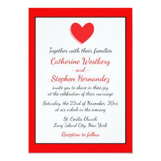 Hearts Wedding Invitation Red, Black & White