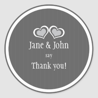 Hearts Wedding Thank You Classic Round Sticker
