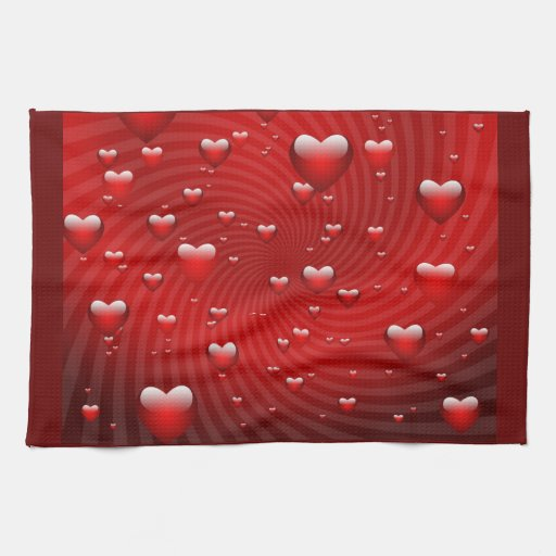Hearts whirlpool kitchen towel