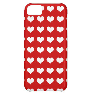 Hearts white on red iPhone 5C case