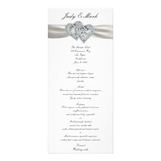 Hearts White Wedding Menu Card