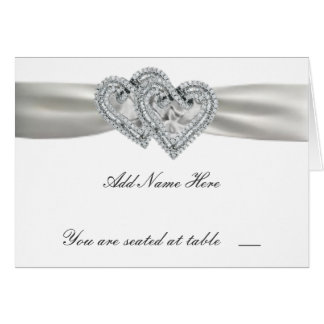 Hearts White Wedding Place Cards