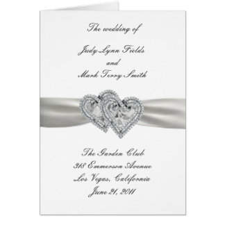 Hearts White Wedding Program Card