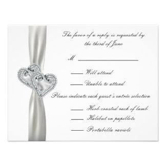 Hearts White Wedding Response Cards Custom Announcement